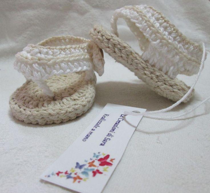 Infradito neonato all'uncinetto. Crochet baby shoes