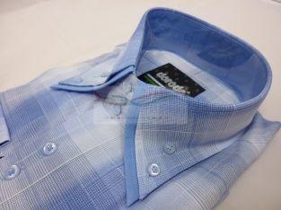 Grote maat overhemd  Mooi Italiaans heren overhemd lange mouw, enkele kraag met blauwe stof in de boorden van het blauw accent gekleurde overhemd. Grote maat overhemd.  Shop online: http://www.romasales.nl/italiaanse-overhemden/italiaans-heren-overhemd-blauw-geblokt-grote-maat