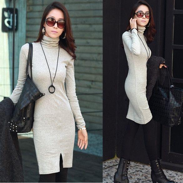 New Fashion Women's Seamless Stretch Long Sleeve Turtleneck Dress