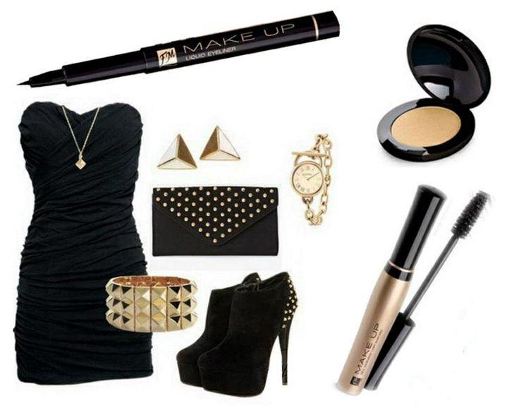 el01 - Eyeliner liquido Calligraphic effect c033 - Ombretto per carnagione scura Sunny gold m001 - Mascara New Dimension Lash