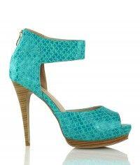 Shoes www.shoeenvy.com.au Corfu - Women's turquoise and wood-grain sandal high heels $129