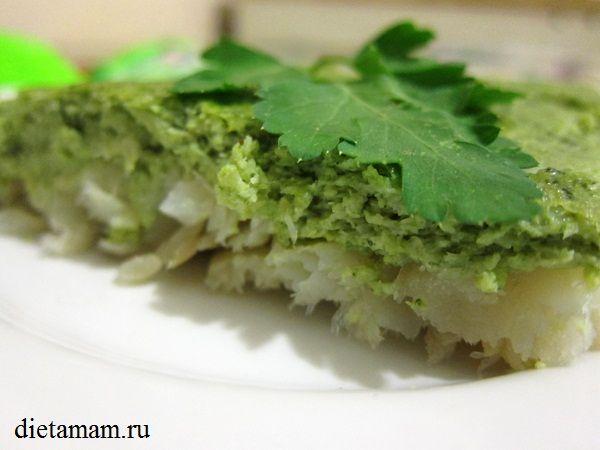 Рецепт: Рыба запеченная с пюре из брокколи в духовке Ингредиенты Филе белой рыбы (хек, минтай, пангасиус, кефаль) — 500 гр. Брокколи — 400 гр. Яйца — 2 шт. Соль, перец (по вкусу).                            http://dietamam.ru/ryba-zapechennaya-s-pyure-iz-brokkoli-v-duxovke-poshagovyj-recept-s-foto/