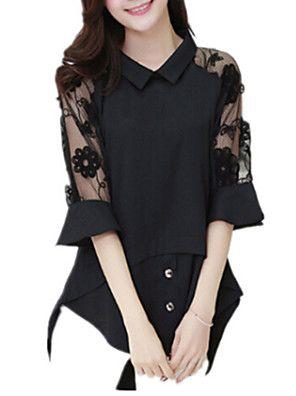 Mulheres Blusa Casual Plus Sizes / Moda de Rua Primavera,Sólido Branco / Preto Náilon Colarinho de Camisa Meia Manga Média