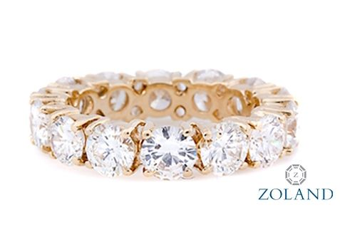 Round brilliant diamond eternity band set in a 4 prong setting #diamond #ring