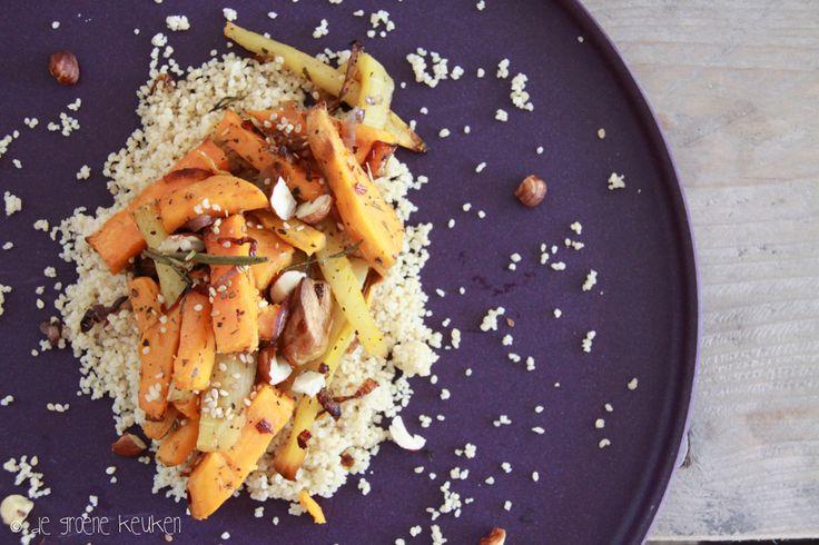 Recept: Zoete aardappel en pastinaak uit de oven | De Groene Keuken