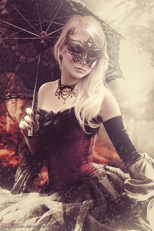 Exquisite black lace & rhinestone details on the mask, choker, ballgown and parasol. Masquerade