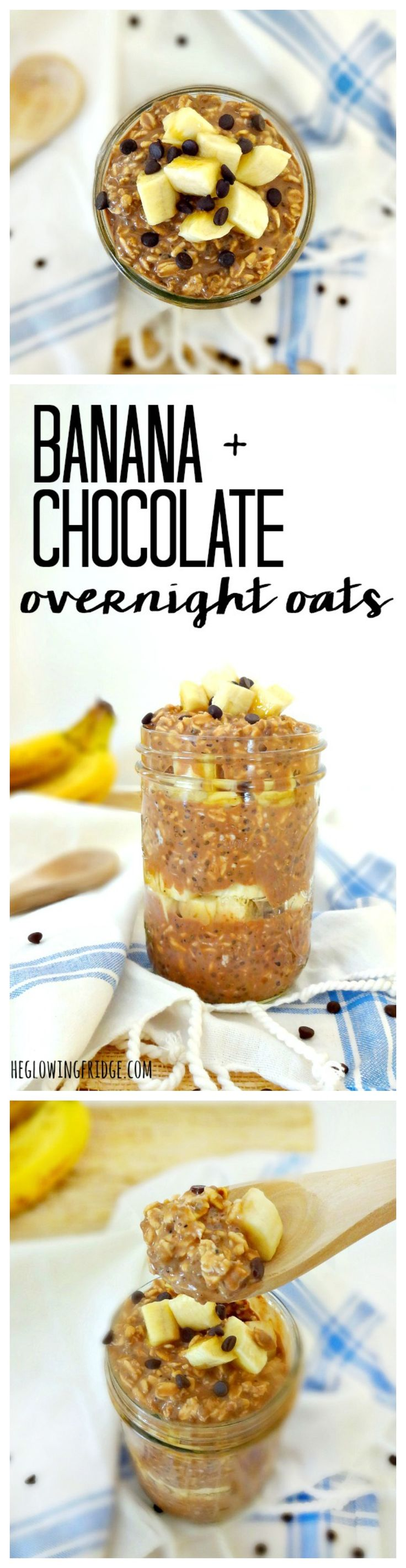 Banana Chocolate Overnight Oats - vegan, gluten free, low fat and super healthy, with a chocolate twist! This yummy breakfast tastes like a treat but is energizing, filling and packed with healthy ingredients.