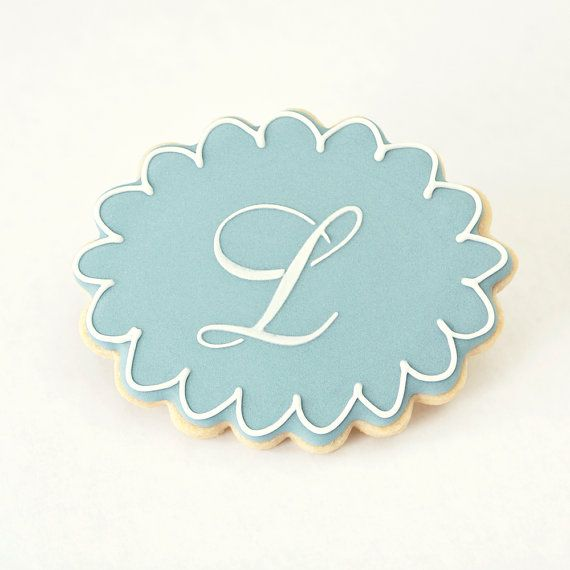 Monogram Letter Baby Shower Cookie Favors by PastryTartBakery, $38.50