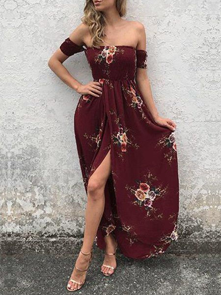 Shop Boho Dresses - Burgundy Slit Boho Swing Off Shoulder Beach Dress online. Discover unique designers fashion at JustFashionNow.com.
