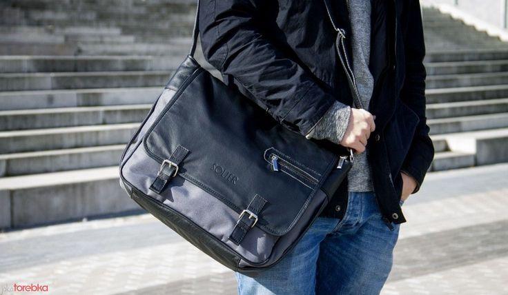 Skórzana torba męska - LISTONOSZKA -na ramię, casual Grey