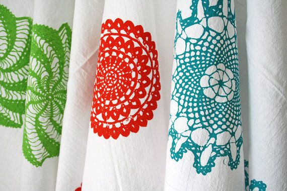 Set of Three. Kitchen Towels. Cotton Tea Towels. Hand Screen-Printed. Doily Design. Gift Set.. $44.00, via Etsy.