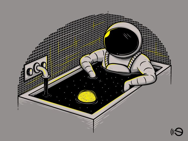 Space bath, for an infinite relax #astronauts #space #universe #stars #grey #fun #clever #vectors #illustration #gebe #elia #colombo