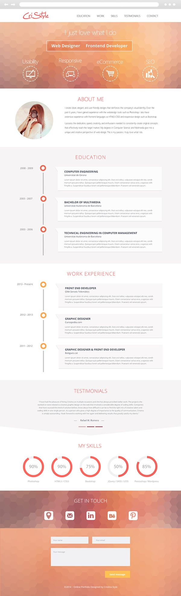 My visual resume - Flat UI Design by Cristina Stela, via Behance