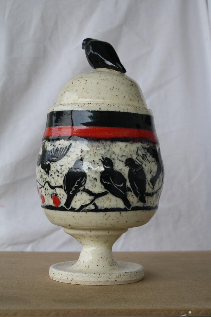 Ceramic Stoneware bird design by Jaki Durocher