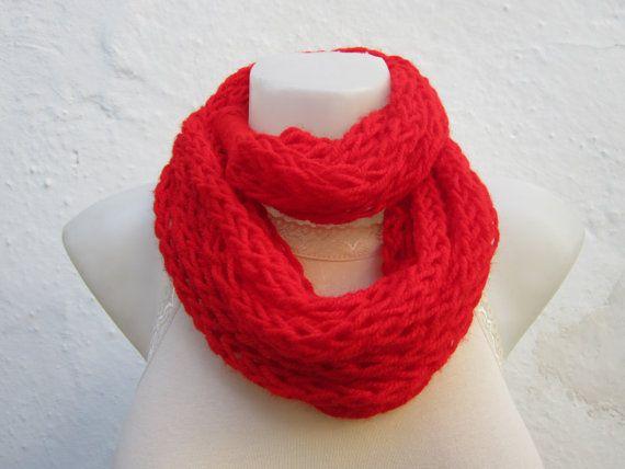 infinity scarf Finger Knitting Scarf Red chain loop by scarfnurlu