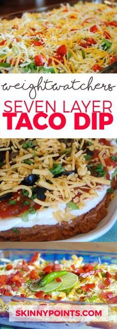Seven Layer Taco Dip - Only 3 Weight Watchers Smart Points