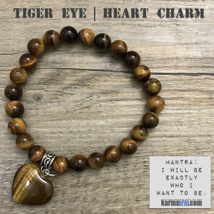 Charm Bracelets. Tigers Eye Heart. Energy Healing. Handmade Men's Women's Luxury Beaded Mala & Jewelry. Law of Attraction. Manifest. #LOA.