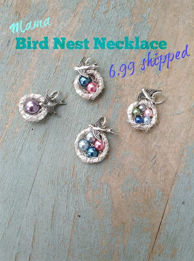 Oh my goodness this Mama Bird Nest Necklace is soooooooooooo cute! You can customize it to! You can choose up to 8 eggs to put inside of the nest. You can choose between metals also. Comes with a silver bird charms, and a ball chain. All of this for only