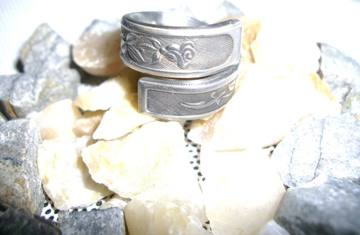 Stainless Steel Spoon Ring, Floral Plant Pattern, Organic Look, Hypoallergenic, Won't Tarnish, Coiled Design, Fork Ring, Upcycled Jewelry by TrashToTrends on Etsy