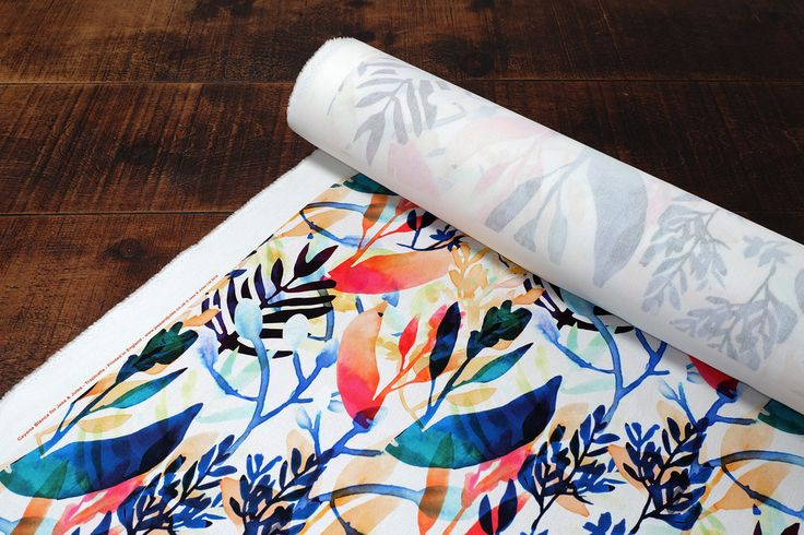 This pattern - Tropicalia - is printed on 100% cotton and available in upholstery and curtain weight, the large repeat on this fabric would look great on a statement chair or large window blind. Available exclusively at www.jessandjules.co.uk