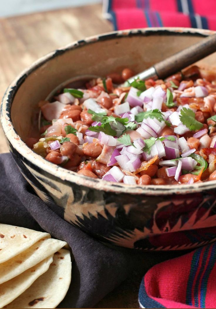Charro-Style Beans -- This side dish is great for entertaining since it can be made ahead of time. Try it for tonight's big soccer game!