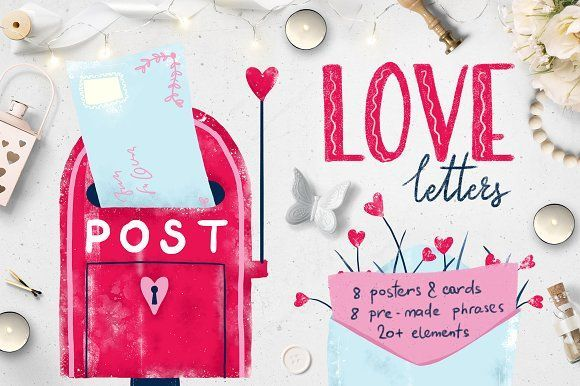 love letters, valentine posters and cards on @creativemarket, #valentinesday #valentine