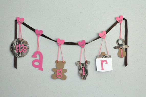 Realtree Camo baby shower decorations pink It's a by ParkersPrints