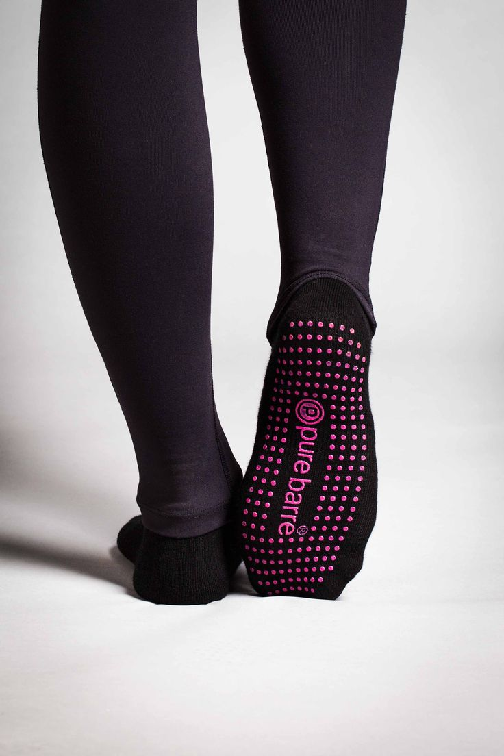 Our PB sticky sock now has sangria sticky dots on the bottom that will help you stick your positions & keep you from sliding. Made from a soft, cotton blend, these socks are sure to take your PB practice to the next level! Pure Barre Sticky Socks