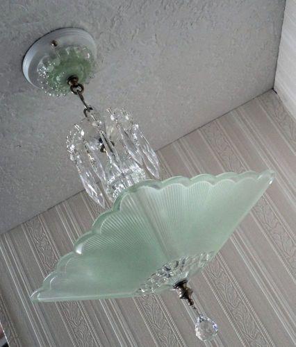 Antique 30's Art Deco Jadite Green Glass Ceiling Light Fixture Chandelier | eBay