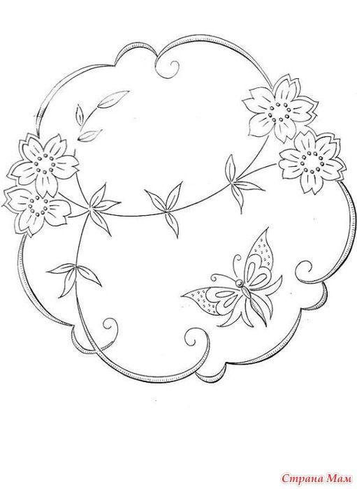 Цветы с птичками и бабочками - схемы для вышивки лентами ...