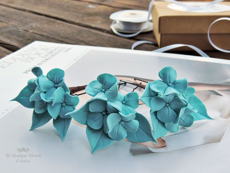 Forcine, Forcine per i capelli, Forcine per la sposa, Forcine azzurre, Forcine con i fiori, Ortensie azzurre, Ortensie blu, Mollette, Sposa di FioridiKristine su Etsy