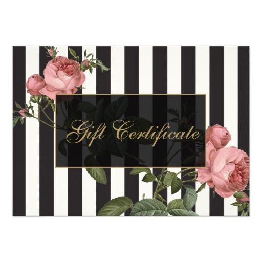 Customizable gift certificate template for salons and boutiques. Matching business cards and stationery available.