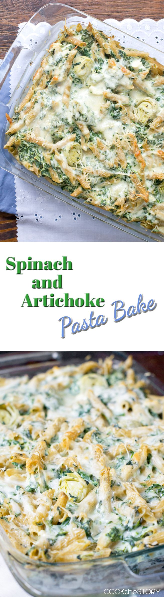 Spinach and Artichoke Baked Pasta http://www.cookthestory.com/2015/10/19/spinach-and-artichoke-pasta-bake/