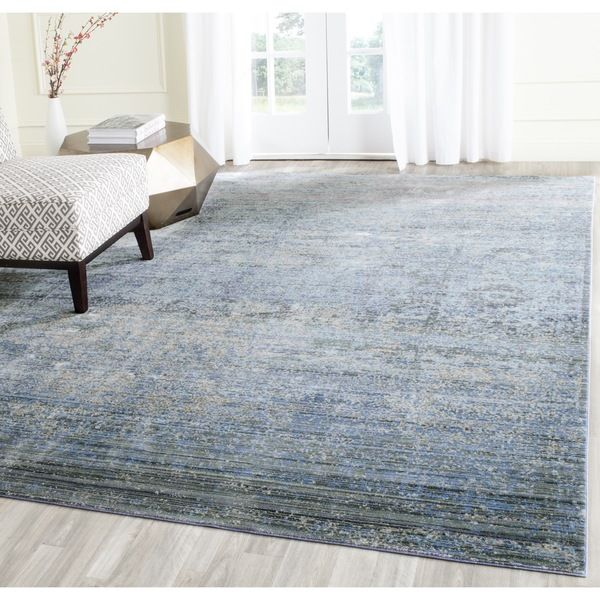safavieh mystique watercolor serene blue multi distressed silky polyester rug 9u0027 x 12u0027 by safavieh