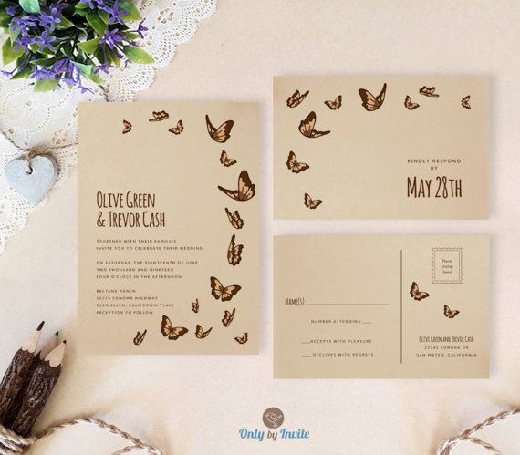 Brown wedding invitation sets printed on kraft card stock. Cheap wedding invitations with RSVP cards. Return address printing on envelopes as low as 0.3$ per envelope: www.etsy.com/listing/241152140 WHAT YOU GET when purchasing printed wedding invitation set: - - - - - - - - - - - - -