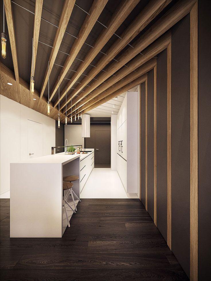 Cucina moderna con travi in legno sul soffitto in casa molto originale