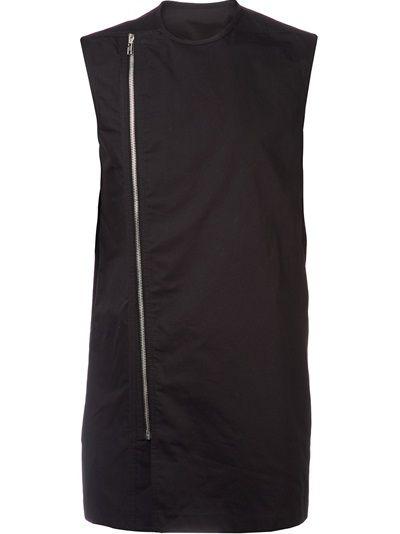 RICK OWENS 'Vicious' biker shirt. Black cotton 'Vicious' biker shirt from Rick Owens featuring a round neck, a sleeveless design, an off-centre front zip fastening and a straight hem.