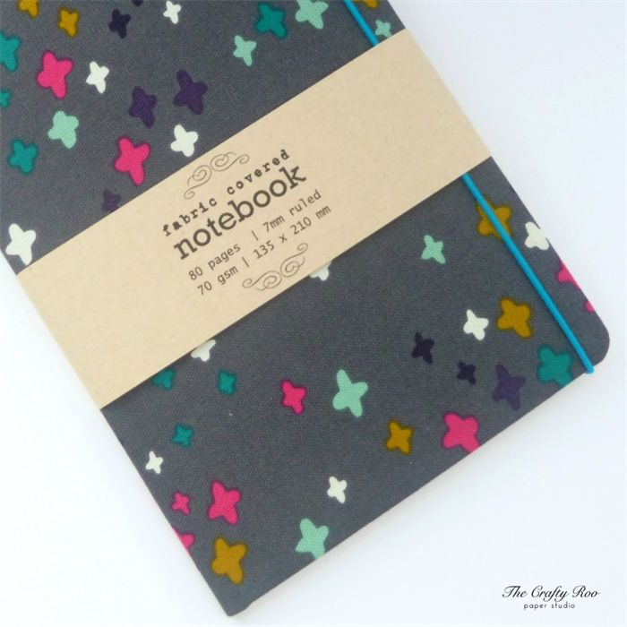 Charcoal Grey/Multi-color Crosses Upcycled Fabric Covered Notebook
