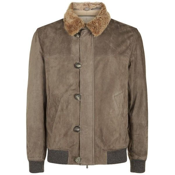 Brunello Cucinelli Aviator Bomber Jacket ($5,630) ❤ liked on Polyvore featuring men's fashion, men's clothing, men's outerwear, men's jackets, mens suede jacket, mens zipper jacket, mens suede bomber jacket, mens suede leather jacket and mens zip jacket