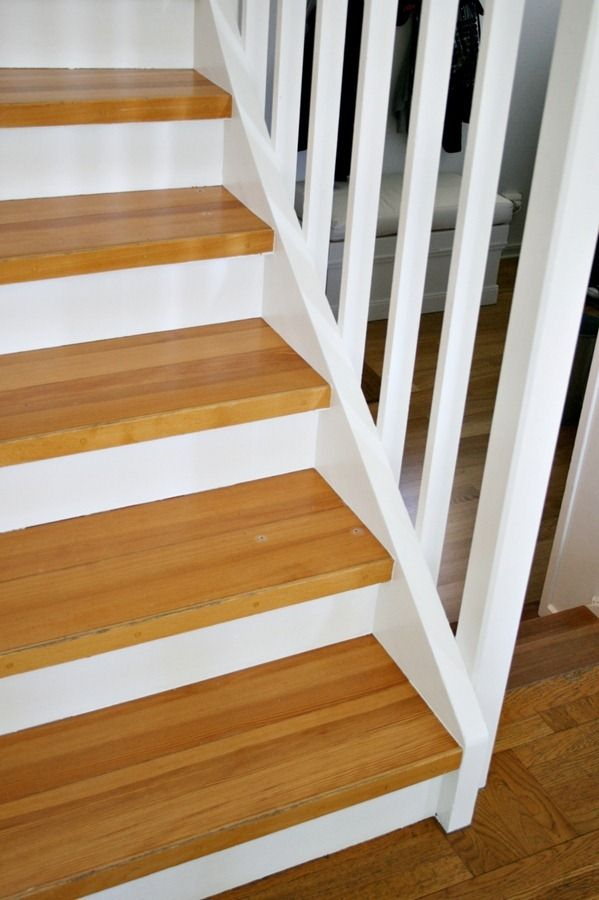 Painted stairs wood treads home improvement pinterest for Painted stair treads