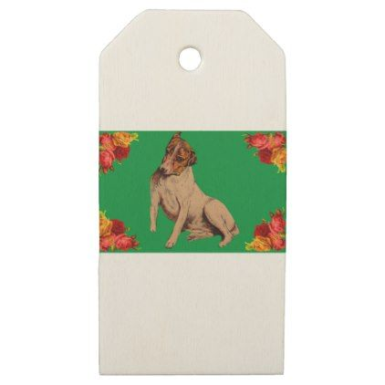 Victorian dog and flowers wooden gift tags - craft supplies diy custom design supply special