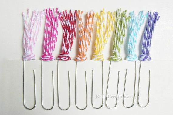 Bakers Twine Paper Clips - Embellishments Bookmarks. $3.00, via Etsy.