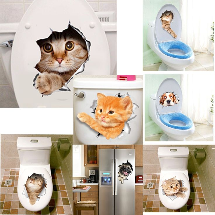 <Jan offer, click image to buy> 3D Vivid Cats Dogs Wall Sticker Toilet Door Refrigerator Computer Bathroom Decor Wall Decor Animal Wall Decals Art Poster Mural ~ Just click the VISIT button will lead you to find similar beautiful pieces on  AliExpress.com