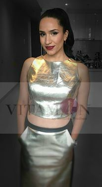 Vitamin by sonalika #Sonalika #Bollywood #Fashion#Designer# Melbourne# Australia# Gold# Black#Leather#Skirt#Crop#top#Pockets# Chick#Look#High#Pony#cute#Shimmer