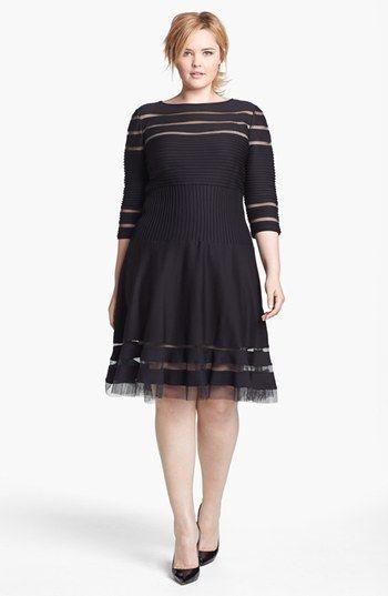 Tadashi Shoji Mesh Stripe Fit & Flare Dress (Plus Size) available at #Nordstrom