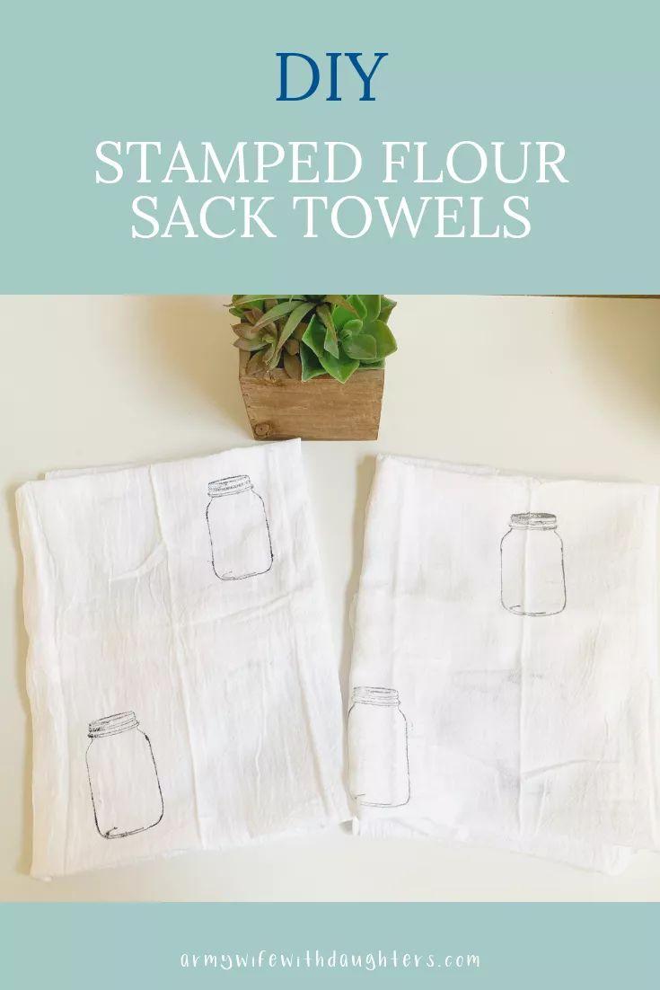 DIY Stamped Flour Sack Towels