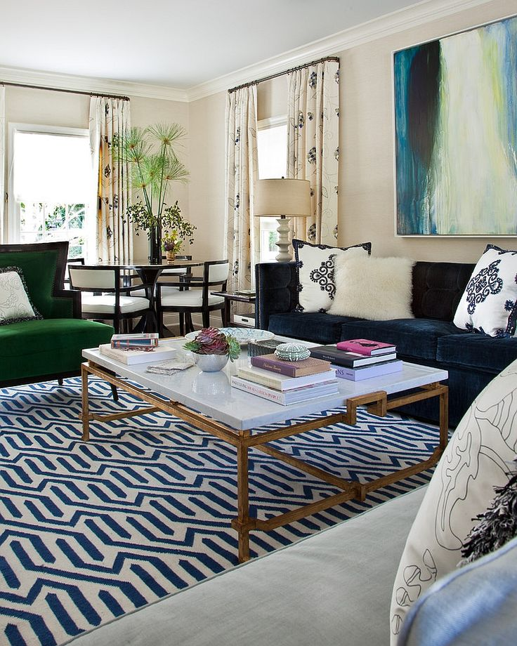Eclectic mixture of colors and textures in the living room