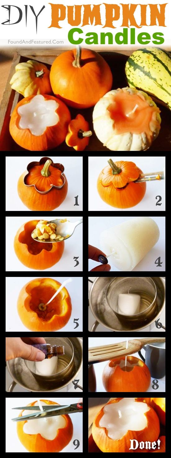 DIY Homemade Scented Pumpkin Candles-- These are super easy and cheap to make! The perfect DIY fall decor idea for the home. #fallcraft #falldecor #pumpkincandles #autumn #Halloween