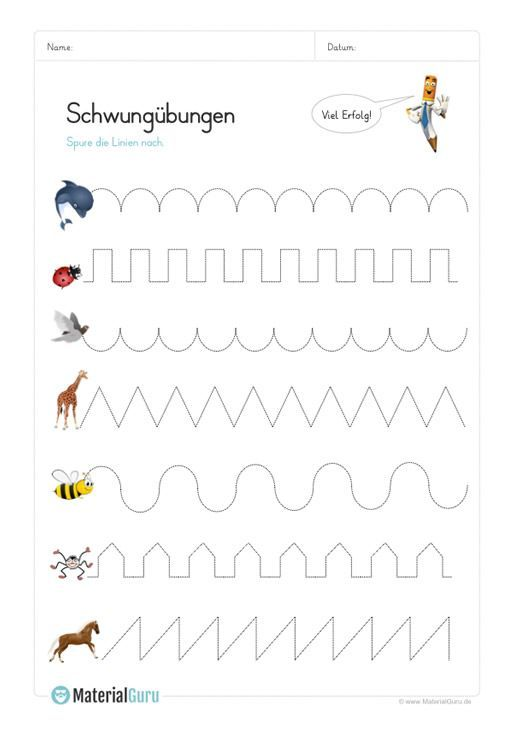 NEU: Ein kostenloses Arbeitsblatt für die Vorschule, auf dem die Kinder Schwung… – Tanja
