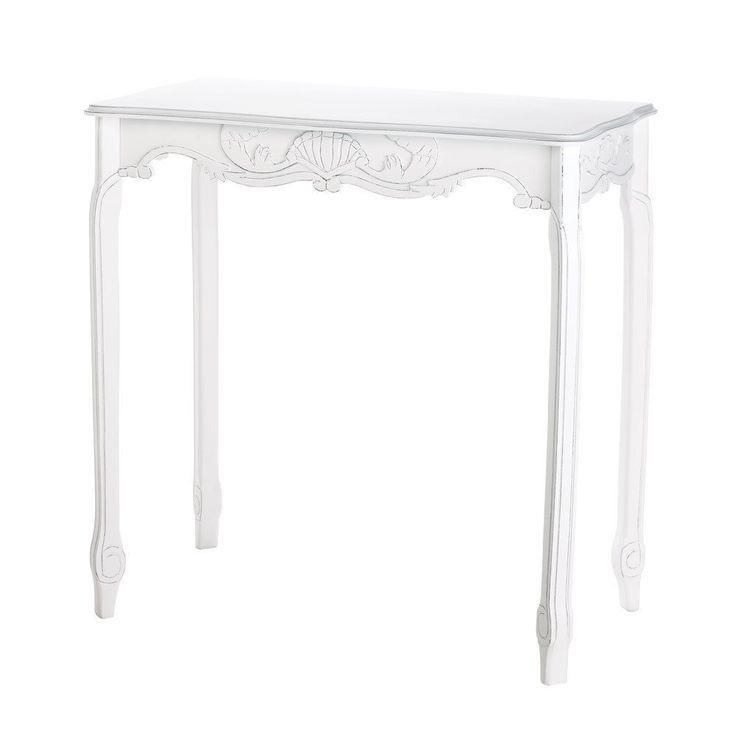 White Accent Table Hallway Furniture Foyer Scalloped Chic Shabby Wood Home Decor #HomeLocomotion #ChicShabby